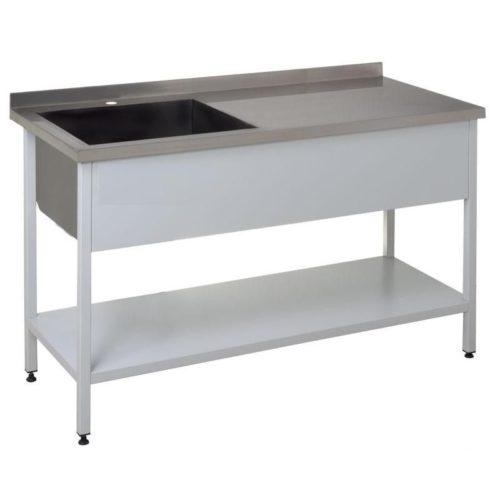 Ванна моечная со столом и полкой из нержавеющей стали